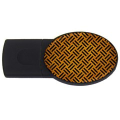 Woven2 Black Marble & Yellow Grunge Usb Flash Drive Oval (4 Gb) by trendistuff