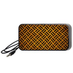 Woven2 Black Marble & Yellow Grunge Portable Speaker by trendistuff
