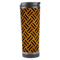 Woven2 Black Marble & Yellow Grunge Travel Tumbler by trendistuff