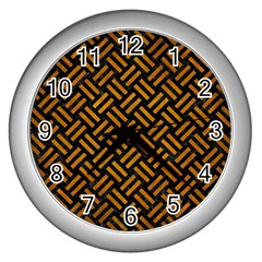 Woven2 Black Marble & Yellow Grunge (r) Wall Clocks (silver)  by trendistuff