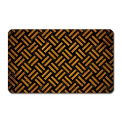 Woven2 Black Marble & Yellow Grunge (r) Magnet (rectangular) by trendistuff