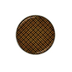 Woven2 Black Marble & Yellow Grunge (r) Hat Clip Ball Marker (4 Pack) by trendistuff
