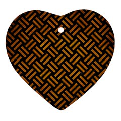Woven2 Black Marble & Yellow Grunge (r) Heart Ornament (two Sides) by trendistuff
