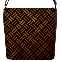 Woven2 Black Marble & Yellow Grunge (r) Flap Messenger Bag (s) by trendistuff