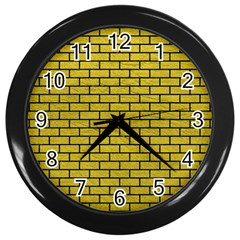 Brick1 Black Marble & Yellow Leather Wall Clocks (black) by trendistuff