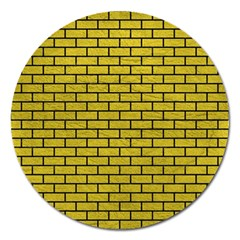 Brick1 Black Marble & Yellow Leather Magnet 5  (round) by trendistuff
