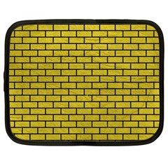 Brick1 Black Marble & Yellow Leather Netbook Case (xl)  by trendistuff