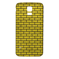 Brick1 Black Marble & Yellow Leather Samsung Galaxy S5 Back Case (white) by trendistuff