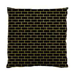 Brick1 Black Marble & Yellow Leather (r) Standard Cushion Case (one Side) by trendistuff
