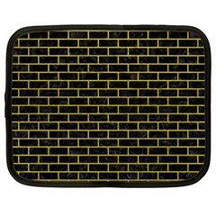 Brick1 Black Marble & Yellow Leather (r) Netbook Case (xl)  by trendistuff