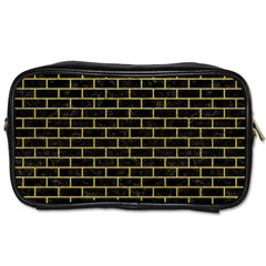 Brick1 Black Marble & Yellow Leather (r) Toiletries Bags 2 Side by trendistuff