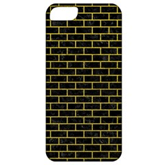 Brick1 Black Marble & Yellow Leather (r) Apple Iphone 5 Classic Hardshell Case by trendistuff