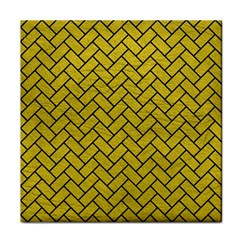 Brick2 Black Marble & Yellow Leather Tile Coasters by trendistuff