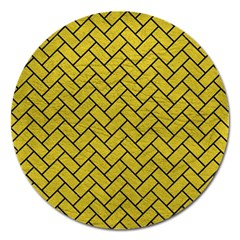 Brick2 Black Marble & Yellow Leather Magnet 5  (round) by trendistuff