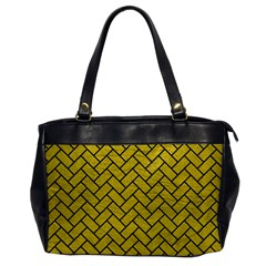 Brick2 Black Marble & Yellow Leather Office Handbags by trendistuff
