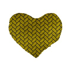 Brick2 Black Marble & Yellow Leather Standard 16  Premium Heart Shape Cushions by trendistuff