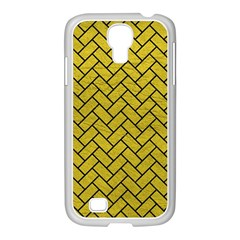 Brick2 Black Marble & Yellow Leather Samsung Galaxy S4 I9500/ I9505 Case (white) by trendistuff