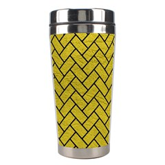 Brick2 Black Marble & Yellow Leather Stainless Steel Travel Tumblers by trendistuff