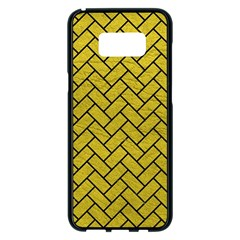 Brick2 Black Marble & Yellow Leather Samsung Galaxy S8 Plus Black Seamless Case by trendistuff