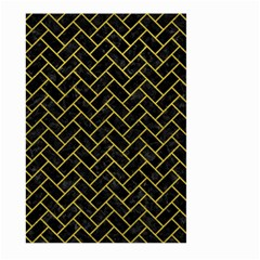 Brick2 Black Marble & Yellow Leather (r) Large Garden Flag (two Sides) by trendistuff