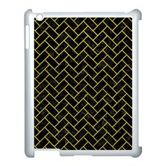 Brick2 Black Marble & Yellow Leather (r) Apple Ipad 3/4 Case (white) by trendistuff