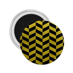 Chevron1 Black Marble & Yellow Leather 2 25  Magnets by trendistuff