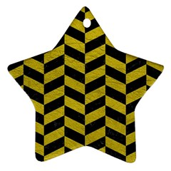 Chevron1 Black Marble & Yellow Leather Star Ornament (two Sides) by trendistuff