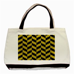 Chevron1 Black Marble & Yellow Leather Basic Tote Bag (two Sides) by trendistuff