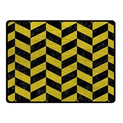 Chevron1 Black Marble & Yellow Leather Fleece Blanket (small) by trendistuff