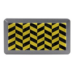 Chevron1 Black Marble & Yellow Leather Memory Card Reader (mini) by trendistuff