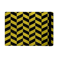 Chevron1 Black Marble & Yellow Leather Apple Ipad Mini Flip Case by trendistuff
