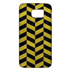 Chevron1 Black Marble & Yellow Leather Galaxy S6 by trendistuff