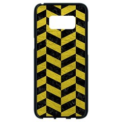 Chevron1 Black Marble & Yellow Leather Samsung Galaxy S8 Black Seamless Case by trendistuff