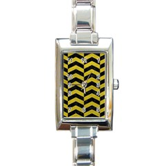 Chevron2 Black Marble & Yellow Leather Rectangle Italian Charm Watch by trendistuff