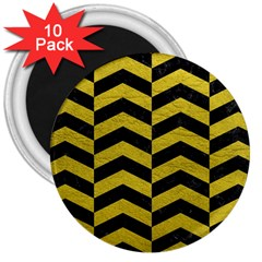 Chevron2 Black Marble & Yellow Leather 3  Magnets (10 Pack)  by trendistuff