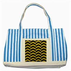 Chevron2 Black Marble & Yellow Leather Striped Blue Tote Bag by trendistuff