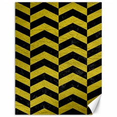 Chevron2 Black Marble & Yellow Leather Canvas 12  X 16