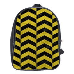 Chevron2 Black Marble & Yellow Leather School Bag (xl) by trendistuff