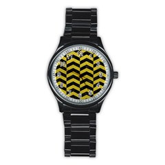 Chevron2 Black Marble & Yellow Leather Stainless Steel Round Watch by trendistuff