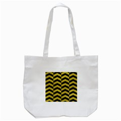Chevron2 Black Marble & Yellow Leather Tote Bag (white) by trendistuff