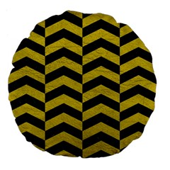Chevron2 Black Marble & Yellow Leather Large 18  Premium Flano Round Cushions by trendistuff