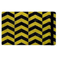 Chevron2 Black Marble & Yellow Leather Apple Ipad Pro 12 9   Flip Case