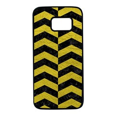Chevron2 Black Marble & Yellow Leather Samsung Galaxy S7 Black Seamless Case by trendistuff