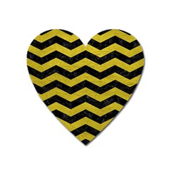 Chevron3 Black Marble & Yellow Leather Heart Magnet by trendistuff
