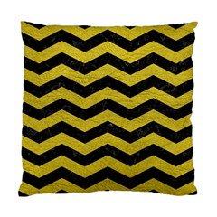 Chevron3 Black Marble & Yellow Leather Standard Cushion Case (one Side) by trendistuff