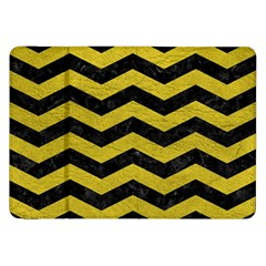 Chevron3 Black Marble & Yellow Leather Samsung Galaxy Tab 8 9  P7300 Flip Case by trendistuff