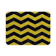 Chevron3 Black Marble & Yellow Leather Double Sided Flano Blanket (mini)  by trendistuff