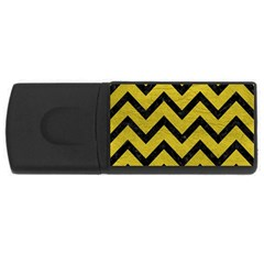 Chevron9 Black Marble & Yellow Leather Rectangular Usb Flash Drive by trendistuff