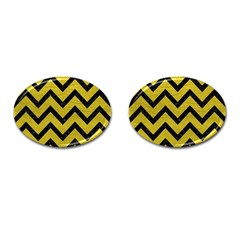 Chevron9 Black Marble & Yellow Leather Cufflinks (oval) by trendistuff