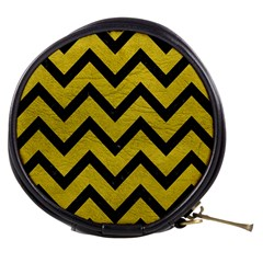 Chevron9 Black Marble & Yellow Leather Mini Makeup Bags by trendistuff
